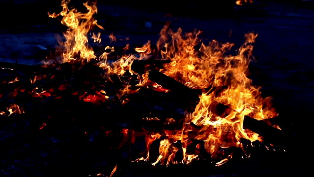 Fire burning in slow motion video