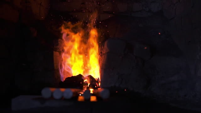 Fire burning in the forger in a blacksmith shop Fire burning in the forger in a blacksmith shop blacksmith shop stock videos & royalty-free footage