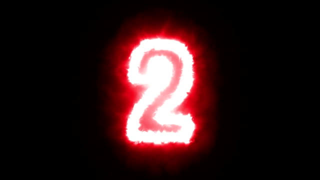 Fire counting number 0 to 9 on dark background video