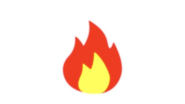 화재 이모티콘 반응, 흰색 배경에 아이콘 애니메이션 - 촛불 조명 장비 스톡 비디오 및 b-롤 화면