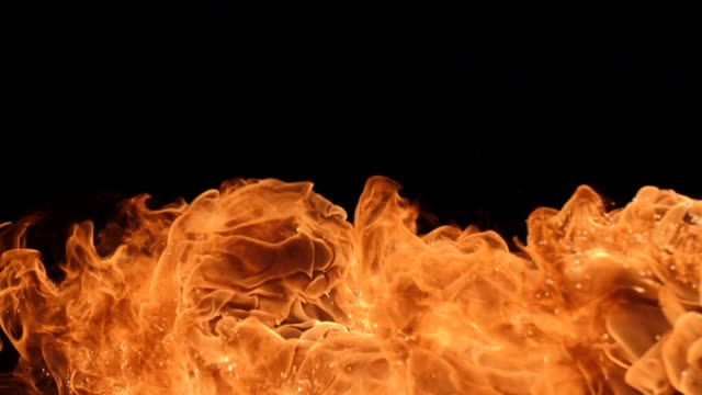 Fire explosion in slowmotion, shooting with high speed camera.