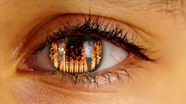 Fire Eye Fire in Human Eye sideways glance stock videos & royalty-free footage