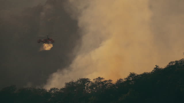 ka-32 fire fighting helicopter dropping water on forest fire - california video stock e b–roll