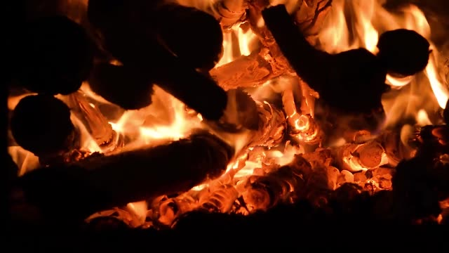 vídeos de stock e filmes b-roll de fire, flame on burning wood in the oven or fire - burned oven