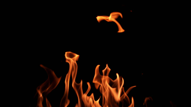 SLO MO of fire flames on black background video