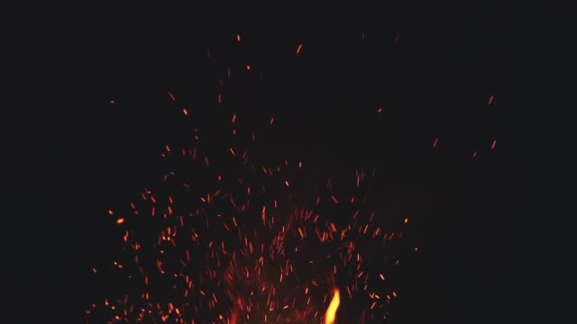 fire flames with sparks from campfire over black background - fiamma video stock e b–roll