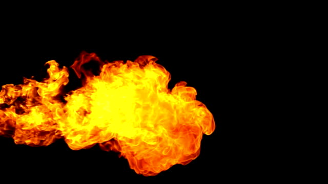 fire flamethrower on black background slow motion - dragon stock videos and b-roll footage