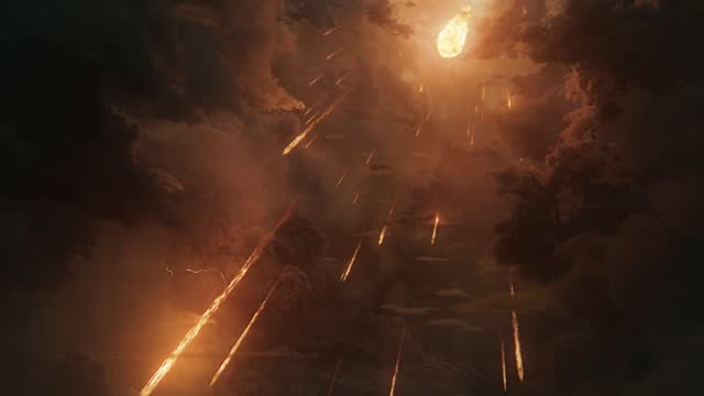 vídeos de stock e filmes b-roll de fire from heaven falling, a huge fireball falling from sky, devastating disaster - apocalipse