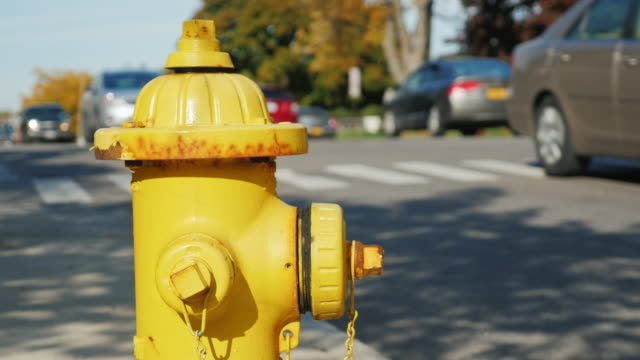 Fire hydrant in a small US town. In the background, street, drive blurred car video