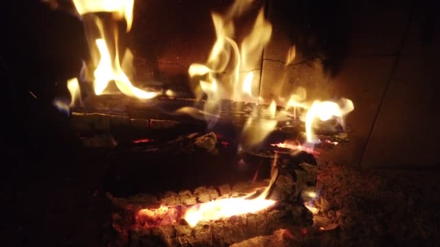 Fire in a fireplace. Fire shooting. video