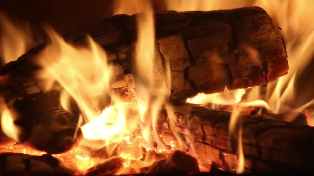 fire in a fireplace video