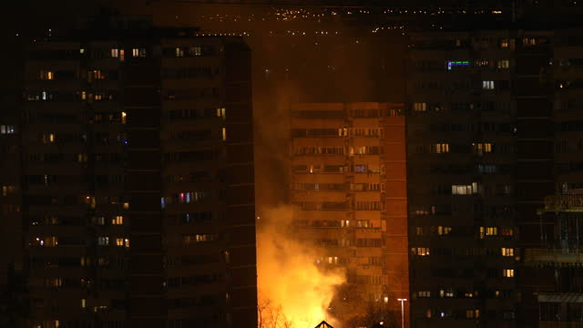 Fire in city at night video