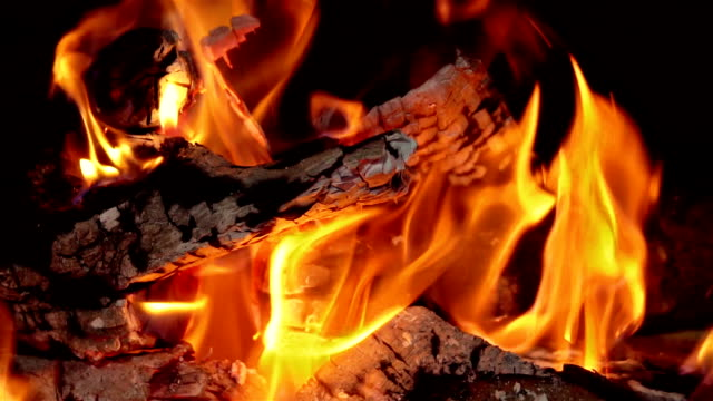 Fire in Fireplace on a Cold Winters Day video