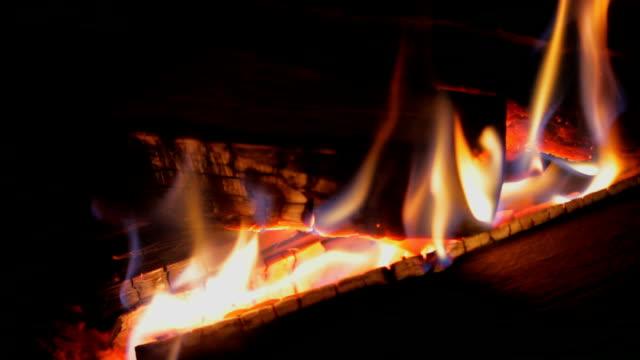 Fire in fireplace video