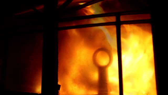 Fire in the fireplace, close up video