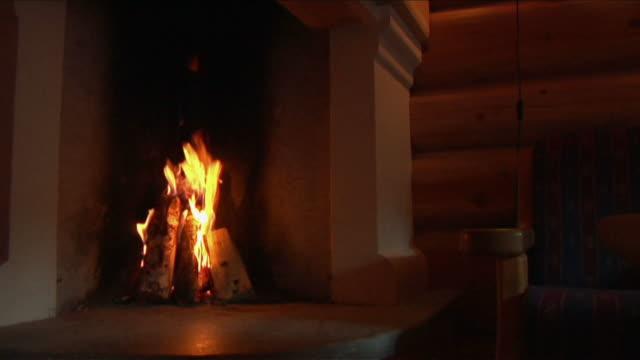 fuoco nel forno a legna. - camino video stock e b–roll