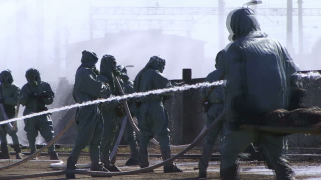 Fire Man in Gas Mask video