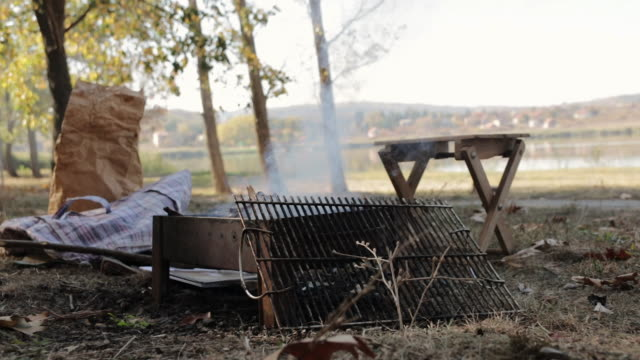 Fire of Barbecue grill during camping near lake