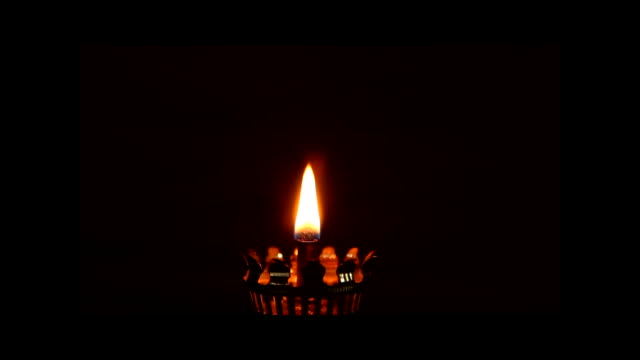 Fire of oil lamp video