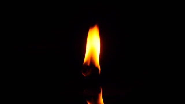 Fire on oil lamp with reflection video