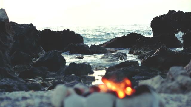 Fuoco sulla spiaggia - video