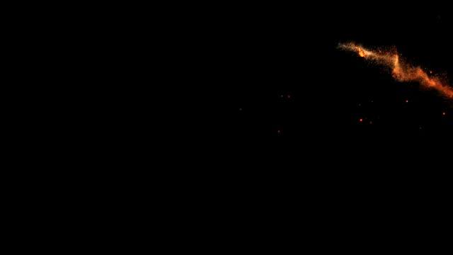 火のプルーム、急速な火災、回転と飛行。3D レンダリング。 ビデオ