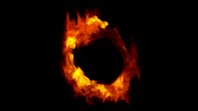 fire ring portal with alpha mask - inferno video stock e b–roll