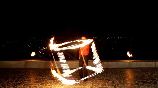 Fire show in the dark video