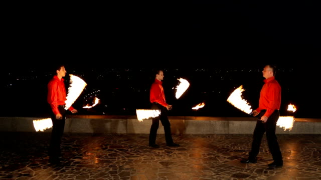 Fire show in the night video