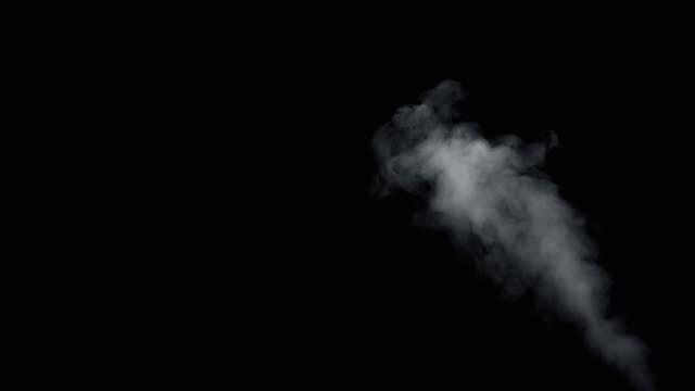 fumo di fuoco dallo sfondo nero dal basso verso l'alto - camino video stock e b–roll