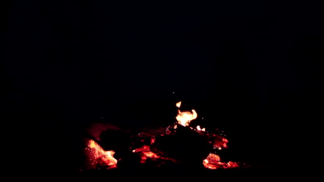 Fire sparks rising up from wood log turned over in bonfire burning outdoor on full moon night video