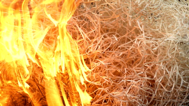 vidéos et rushes de le feu commence à brûler la pile de paille - grange