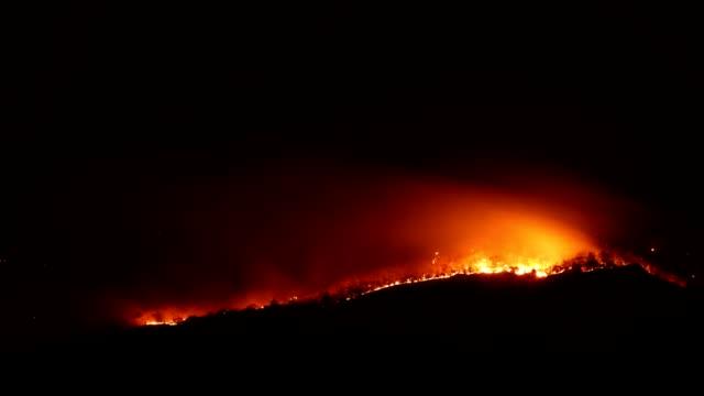fuoco intervallo di tempo bruciando - incendio video stock e b–roll
