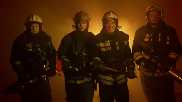 Firefighters after fire extinguishing video