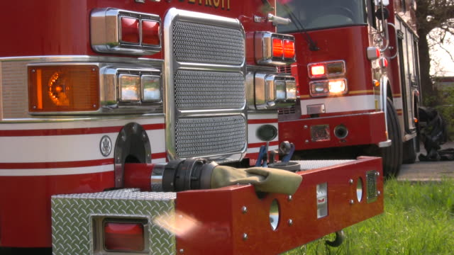 Firefighters from local Fire Department on emergency site. Rescue mission. video
