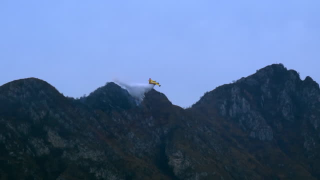 Firefighting Aircraft Mountain Water - video