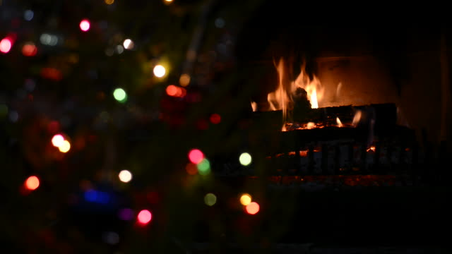 Fireplace and lights background video