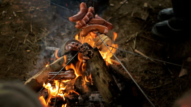 Fireplace and sausages. Roasting sausages on open fire. video