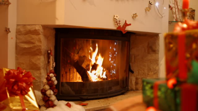 Fireplace in the interior New Year video