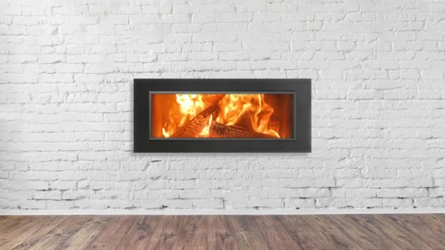 Fireplace on white brick wall in bright empty living room interior of house Fireplace on white brick wall in bright empty living room interior of house. loft apartment stock videos & royalty-free footage