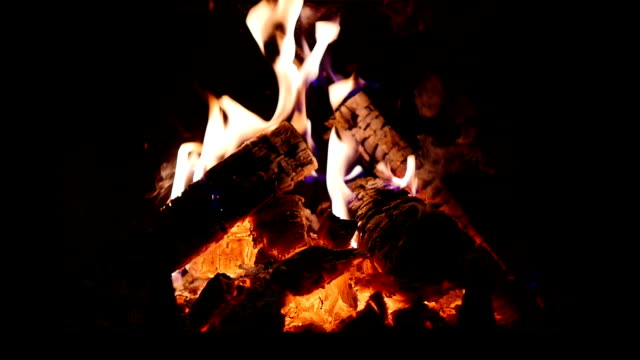 Fireplace. Slow-mo video
