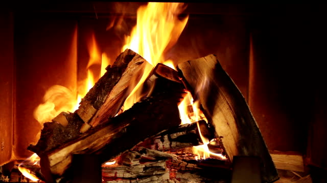 Fireplace Burning Wood In The Fireplace fireplace stock videos & royalty-free footage