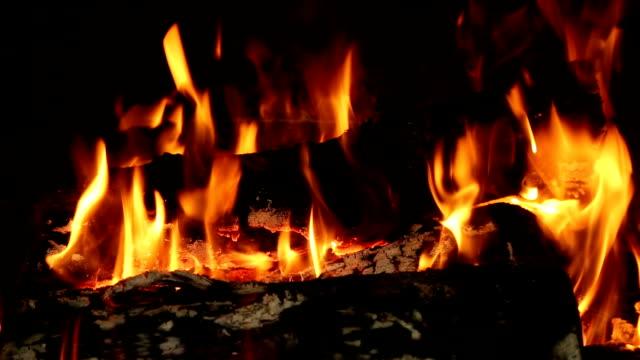 Lareira com queima de madeira - vídeo