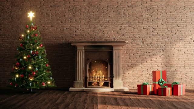 kominek z dekoracjami świątecznymi wystrój wnętrz - jodła filmów i materiałów b-roll