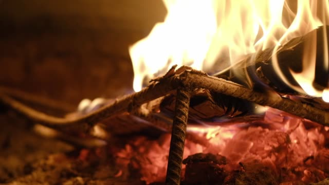 Firewood burning in the slow motion
