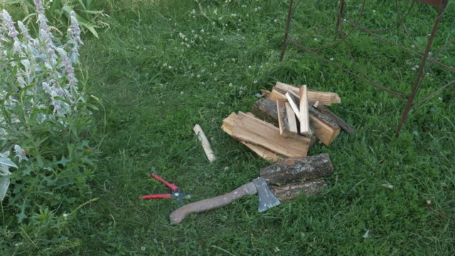 Firewood on the grass. Chop wood log with ax with grass on background Firewood on the grass. Chop wood log with ax with grass on background agricultural occupation stock videos & royalty-free footage