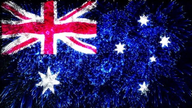 firework display flag of Australia video