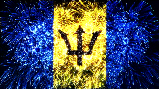 firework display flag of Barbados video