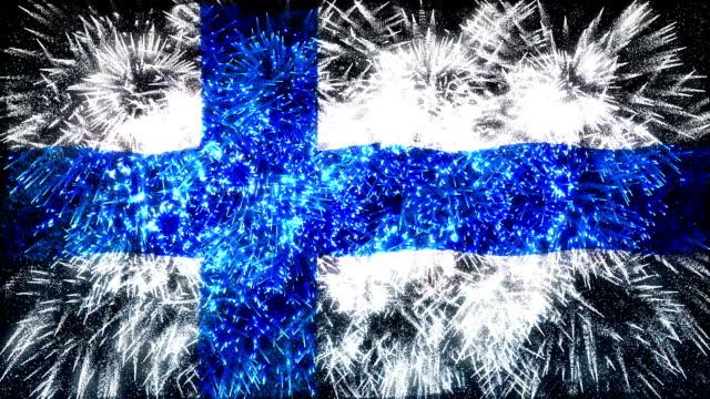 firework display flag of Finland video