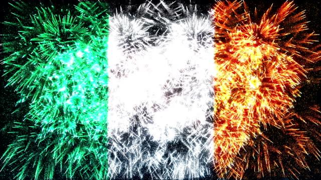 firework display flag of Ireland video